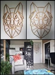 Geometric Wolf head wall decoration by CyanFox3