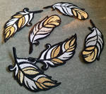 Gold-tipped feathers ~ Embroidered iron patches
