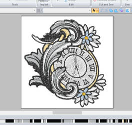 Filigree pocket watch ~ embroidery WIP
