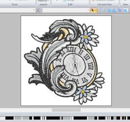 Filigree pocket watch ~ embroidery WIP by CyanFox3