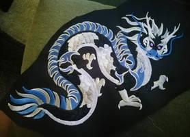 Oriental dragon embroidery prototype