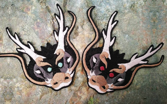 Oriental dragon head ~ Embroidered patch