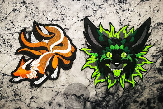 Commission: Custom OC fursona embroidered patches