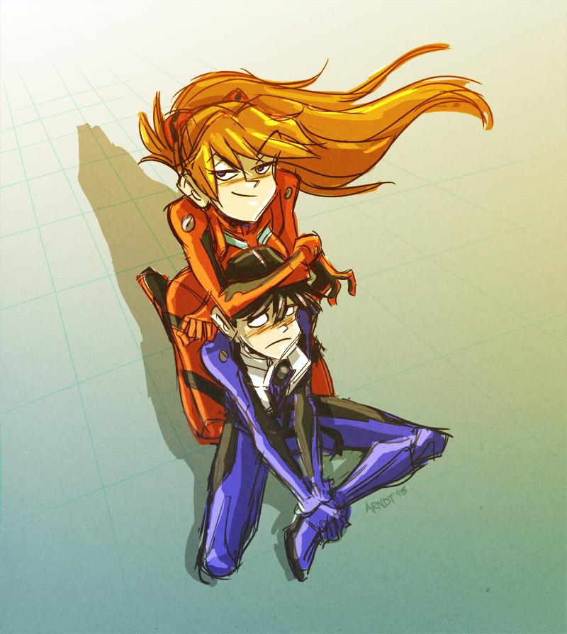 Asuka x Shinji by sinyx