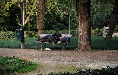 Sleeping on a bench