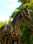 Life size stallion sculpture in driftwood