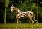 Driftwood Horse Stallion Sculpture