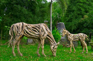 Driftwood horse  The Grazing Mare and Filly