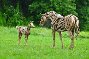 Peaceful Bond _Mare and Foal Teakroots Sculptures