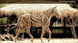 The Prince of Dune _ a Wooden Stallion Sculpture