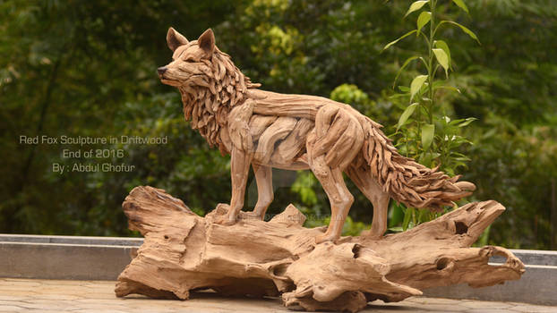 Red Fox Sculpture in driftwood