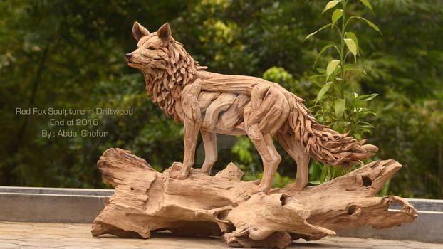 Red Fox Sculpture in driftwood