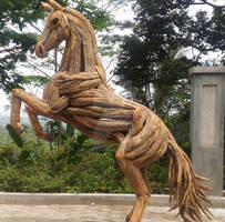 Mustang Horse Teak Roots Sculpture in Rearing Pose