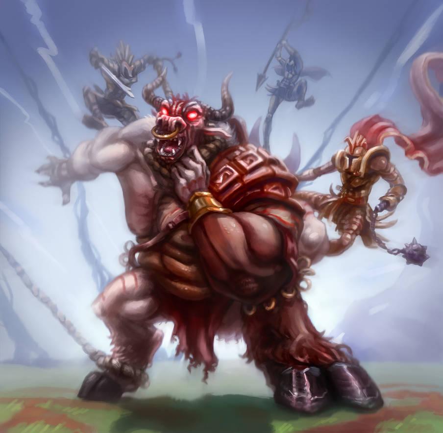 Minotaur Fight by LucasZebroski