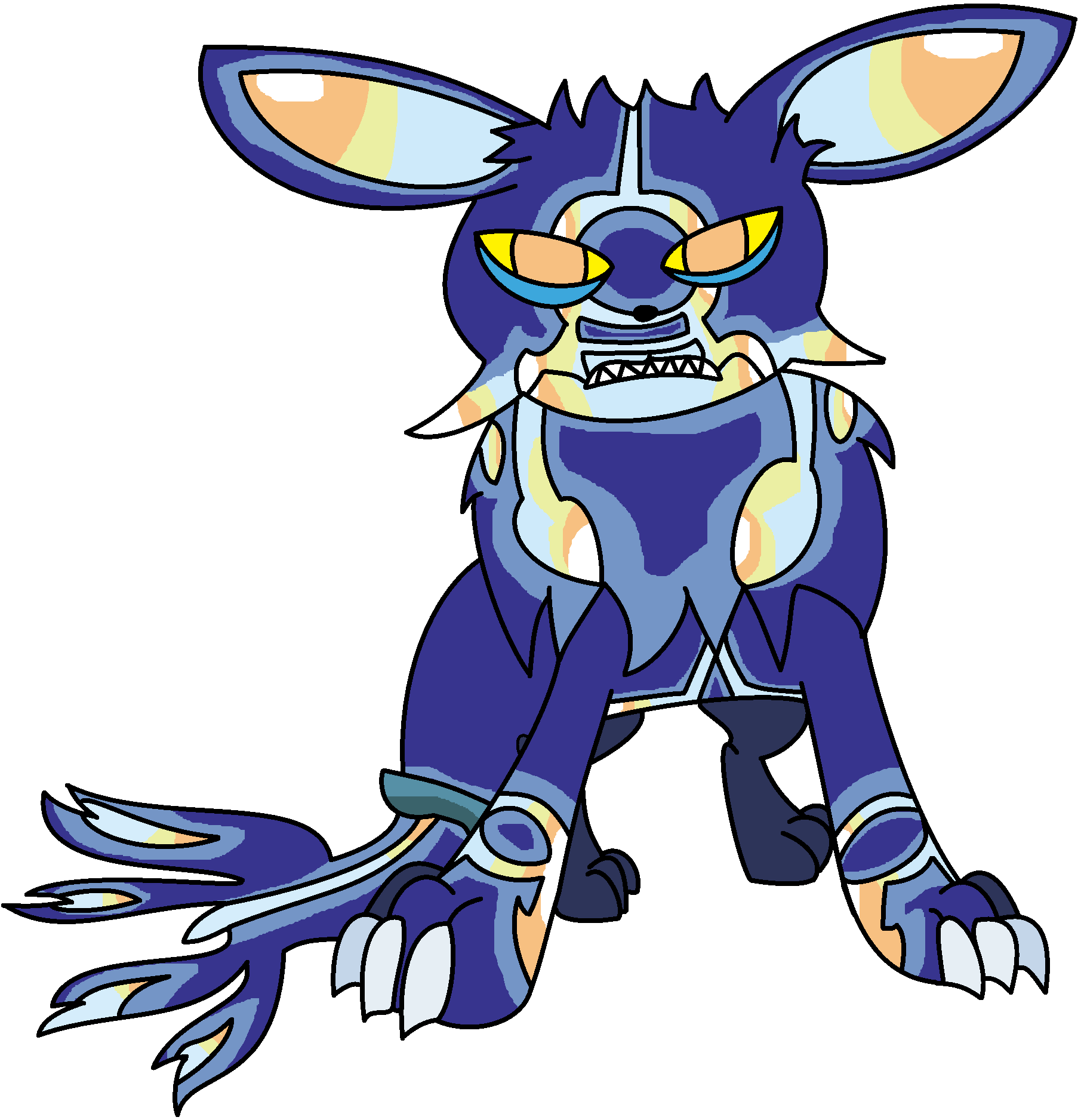 primal kyogre and eevee fusion by halotheeevee on deviantart
