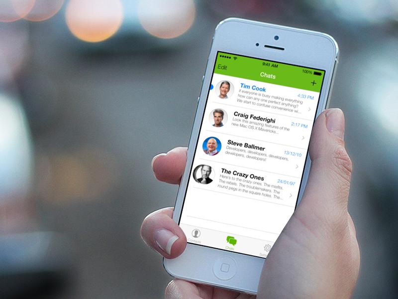 Interface: WhatsApp on iOS 7