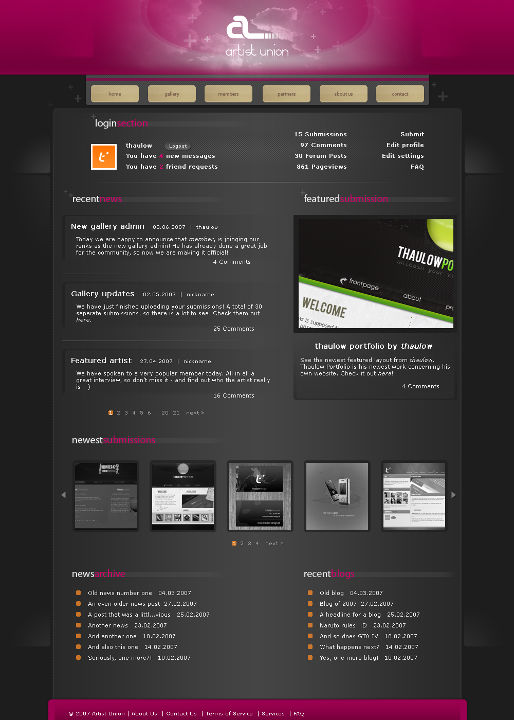 Artist Union Web Design by thaulow