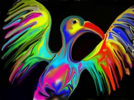Warning: Psychedelic Bird by mainbearing