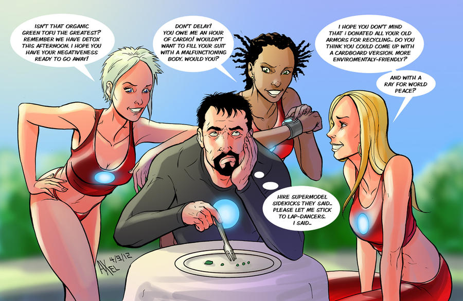 TLIID 105. Tony Stark and his supermodel sidekicks by AxelMedellin