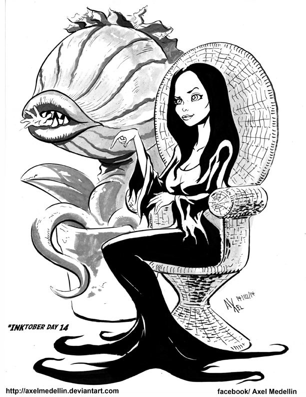 inktober 14 morticia and audrey 2 by axelmedellin on deviantart. Black Bedroom Furniture Sets. Home Design Ideas