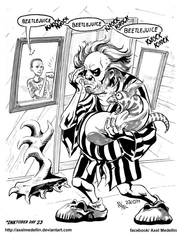 #INKtober 23. Beetlejuice and Sheldon. by AxelMedellin