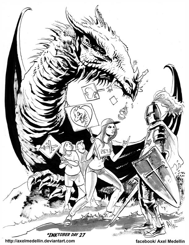 #INKtober 27. Save the dragon. by AxelMedellin