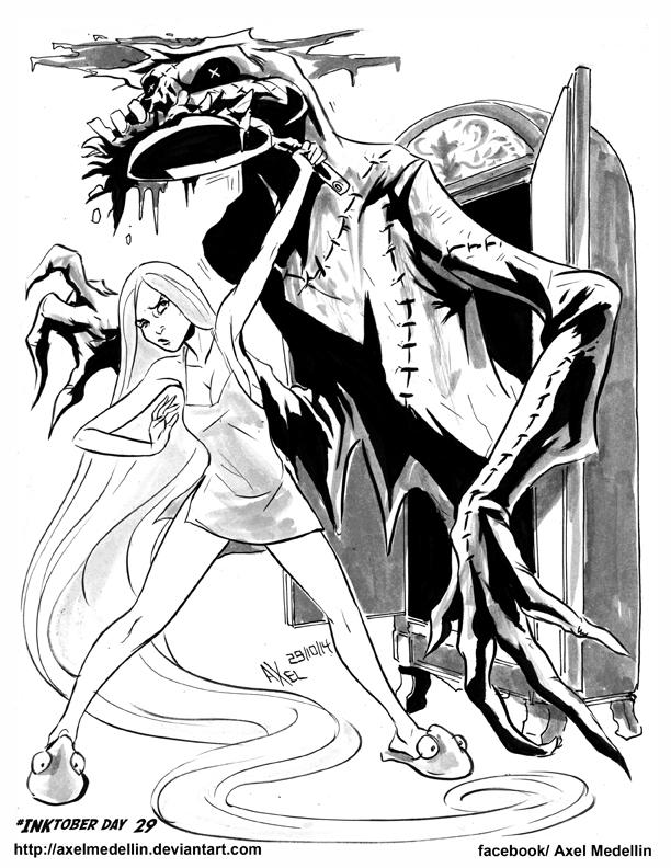#INKtober 29. Rapunzel meets the Bogeyman. by AxelMedellin