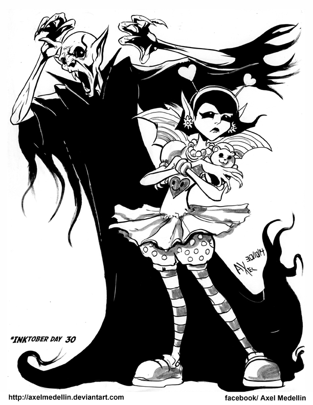 #INKtober 30. Daughter of Nosferatu. by AxelMedellin