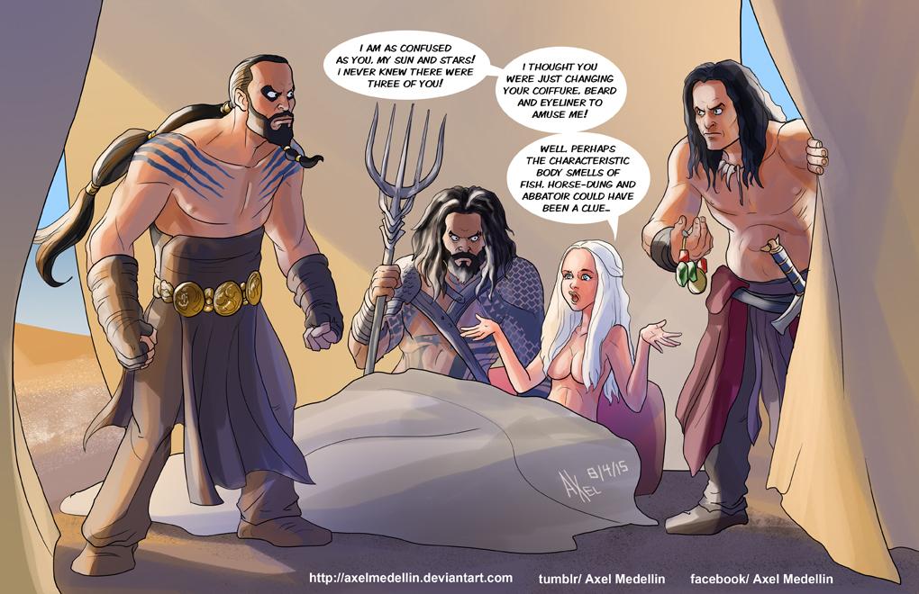 TLIID 235. Kahl Drogo vs Conan vs Aquaman by AxelMedellin