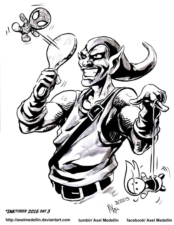 INKtober 2015 and Drawlloween Day 3. Goblin by AxelMedellin
