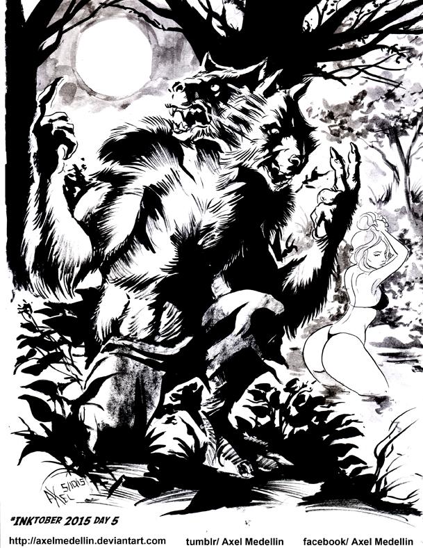 INKtober 2015 and Drawlloween Day 5. Werewolf by AxelMedellin