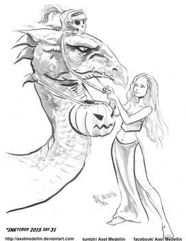 INKtober 2015 and Drawlloween Day 31. Dragon
