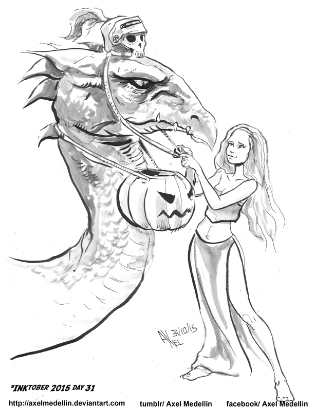 INKtober 2015 and Drawlloween Day 31. Dragon by AxelMedellin