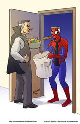 TLIID 415: Spidey trick-or-treating at JJJ's house by AxelMedellin