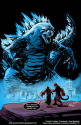 TLIID 445. Godzilla vs Hellboy by AxelMedellin