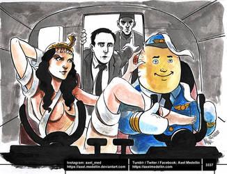 Drawlloween day 16. Mummies on a plane.