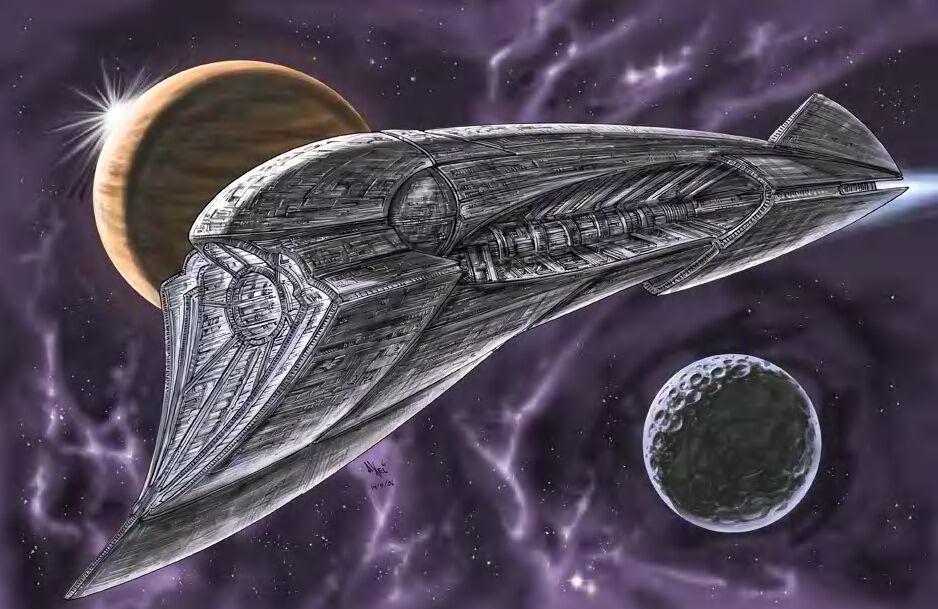 Starship in deep space by AxelMedellin
