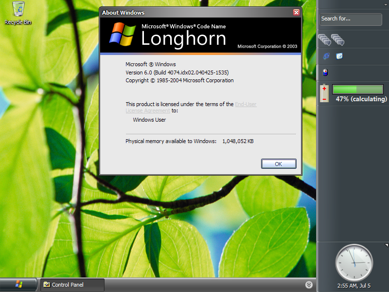 Windows Longhorn Build 4074 By Htfcirno2000 On Deviantart