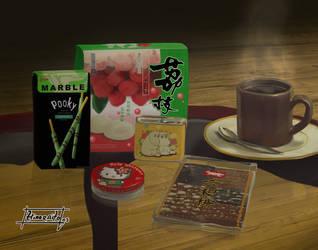 Asian Snacks Still Life by hinoraito