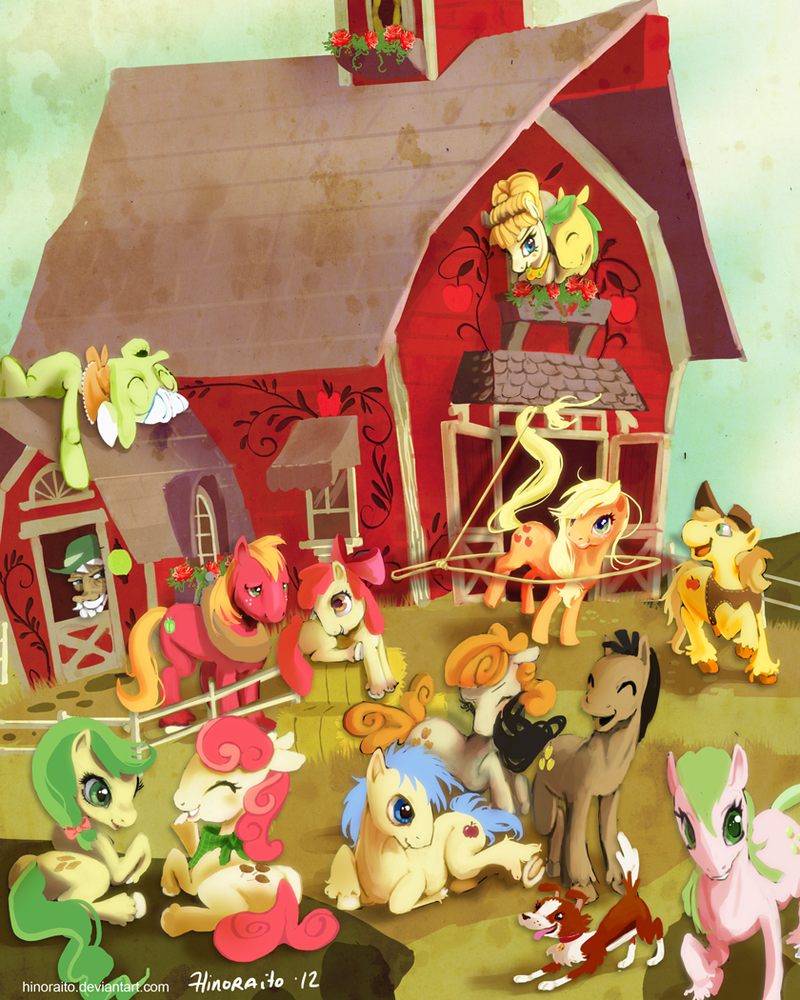 MLP FIM: Sweet Apple Acre - Applejack's family by hinoraito