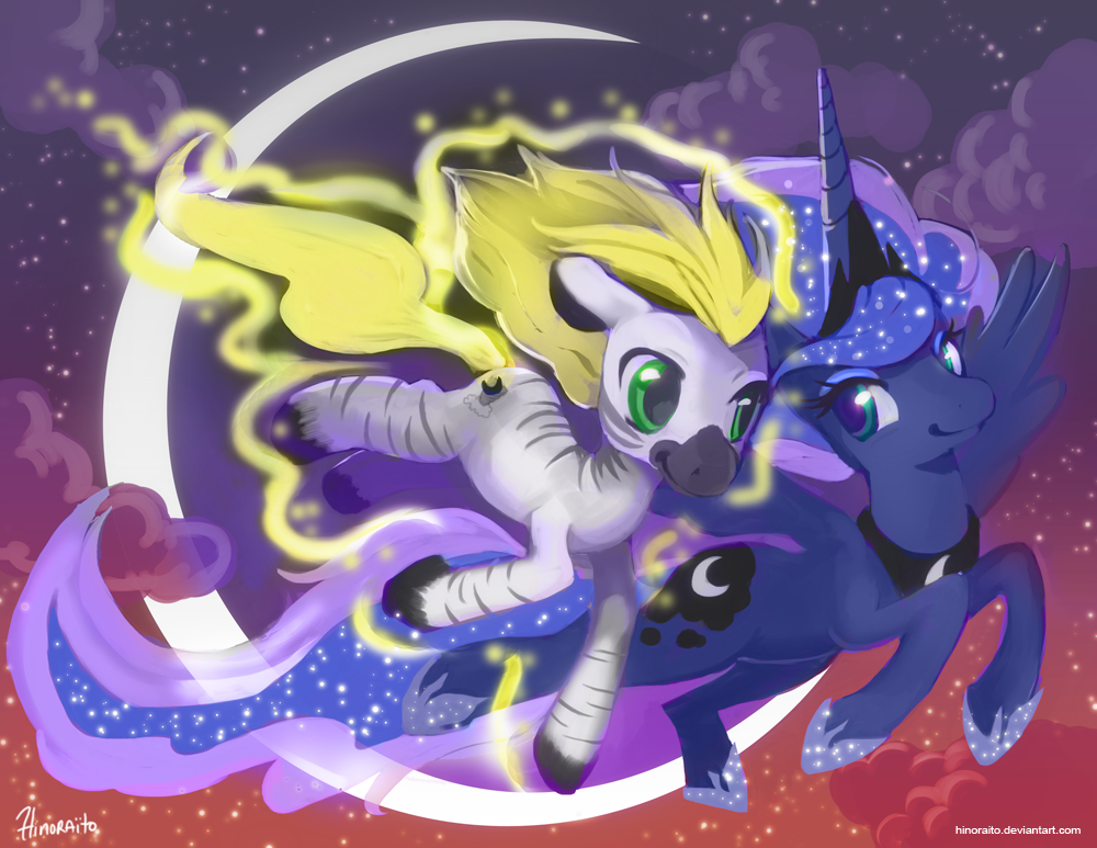 MLP Commission: Luna and Jack soaring by hinoraito