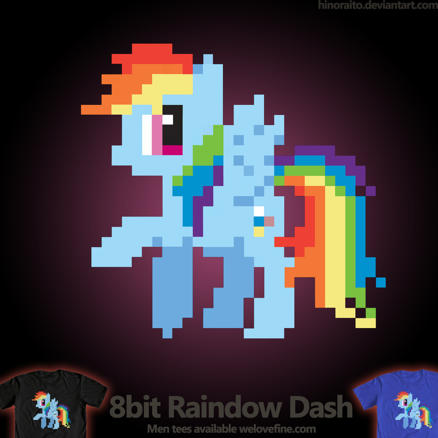 Welovefine: 8bit RainbowDash shirt by hinoraito