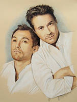 Jude Law and Robert Downey Jr by L3xil3in