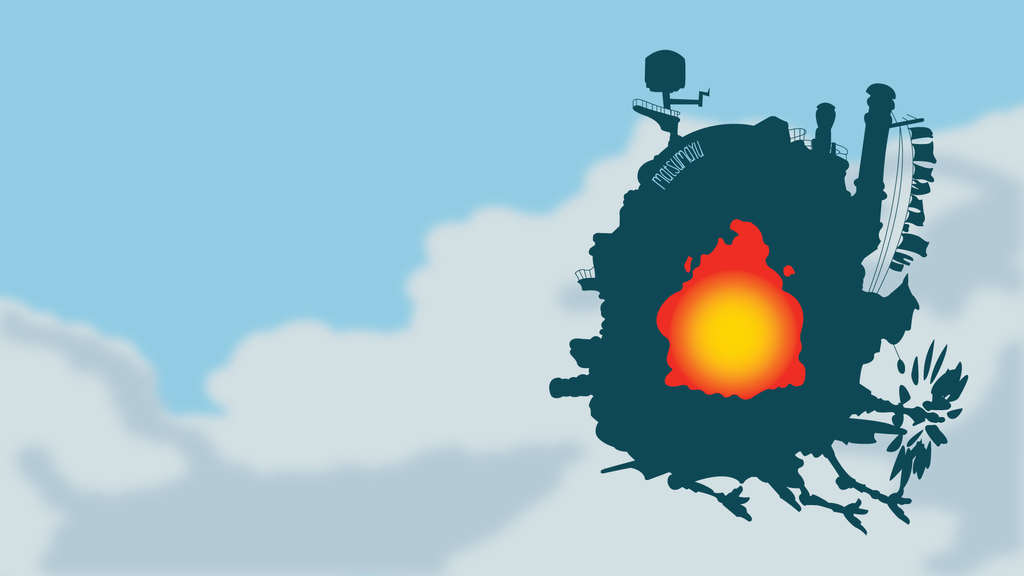 castle from howls moving castle minimalist by matsumayu