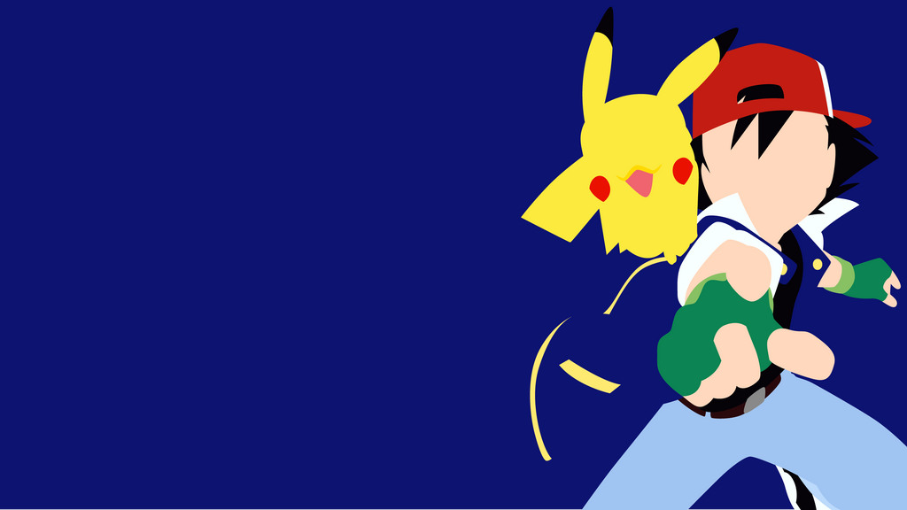 Ash ketchum and pikachu from pokemon minimalist by - Ash and pikachu wallpaper ...
