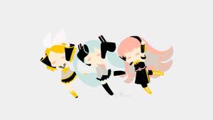 Miku, Rin and Luka from Vocaloid by matsumayu
