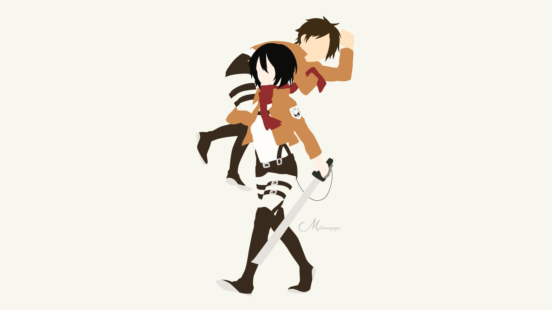 Mikasa And Eren From Shingeki No Kyojin By Matsumayu On