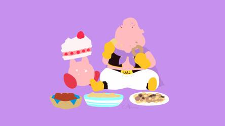 Majinbu and Kirby Crossover by matsumayu