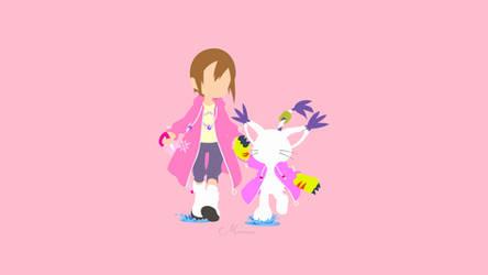 Hikari and Gatomon from Digimon Adventure by matsumayu