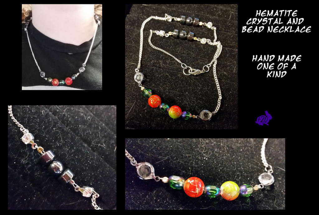 Hematite, crystal and bead Necklace by Khthonia